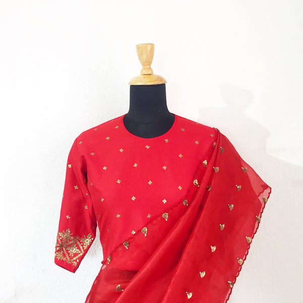 Tilli saree red (o)