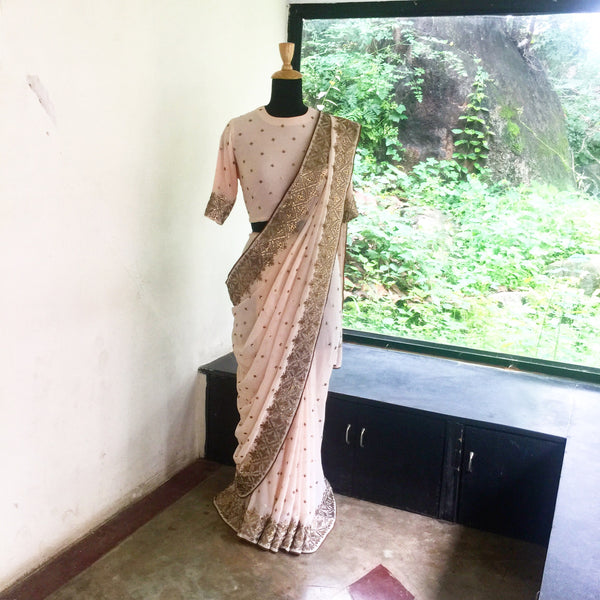 Tilli saree peach