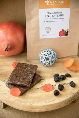 handmade energy bars filled with healthy fruits, nuts and seeds
