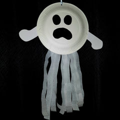 paper plate ghost kids halloween craft activity