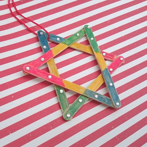 diy handmade star popstick Christmas decoration ornament kids craft