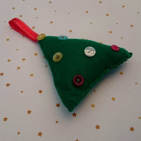 felt Christmas tree decoration handmade tutorial