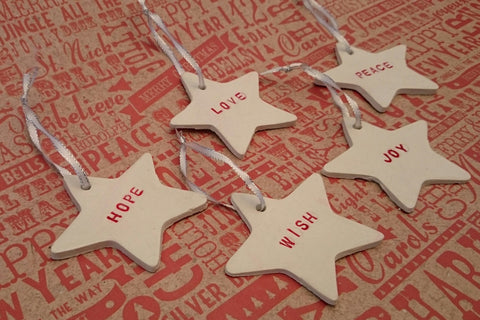 clay diy Christmas Decoration star hanging ornament Bunting