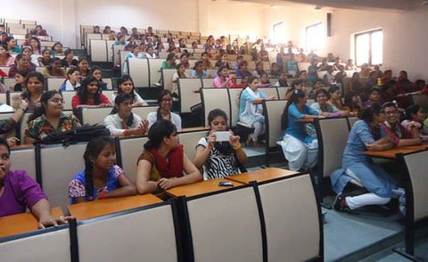 Indian women during a speech at a university