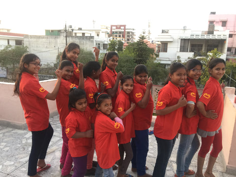 Indian girls wearing red t shirt