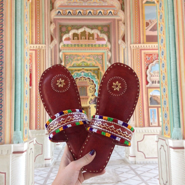 hand embroidered leather kolhapuri chappal shoe from happee brand