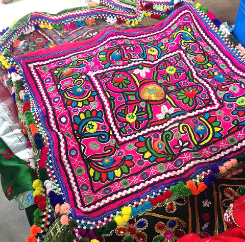 embroidered handbag made by tribal woman from India