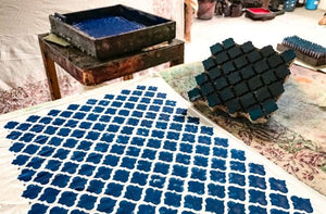 Blockprinting process at Happee