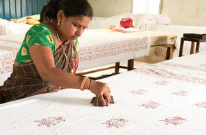 block printing process at Happee