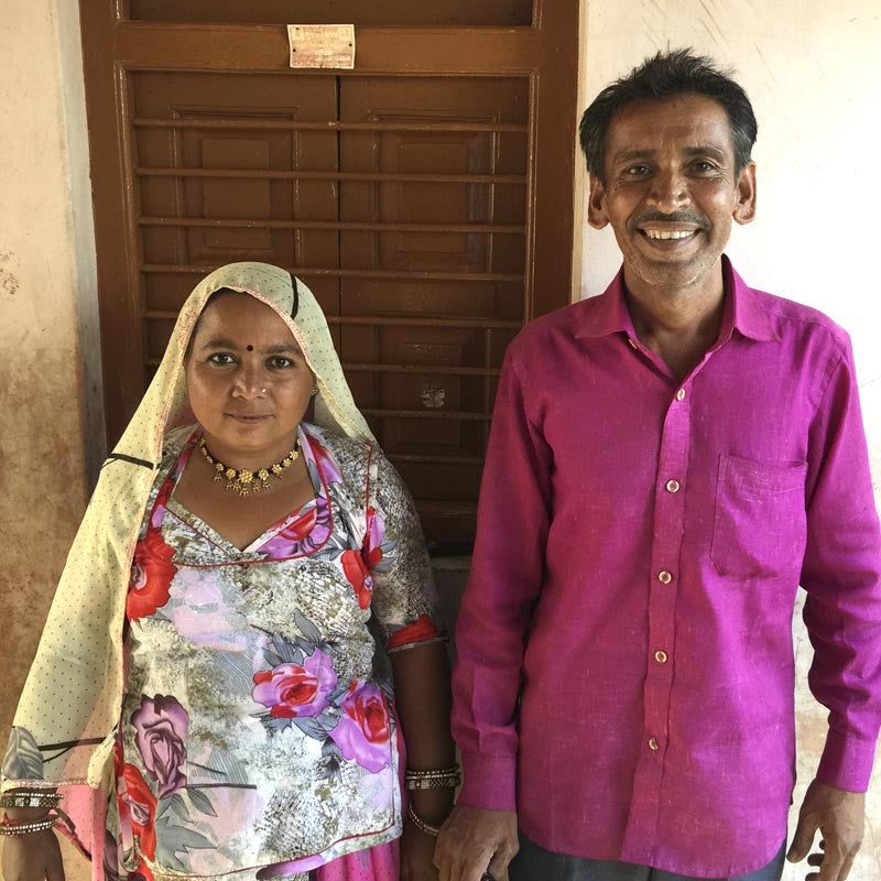 Indian couple of artisans smiling