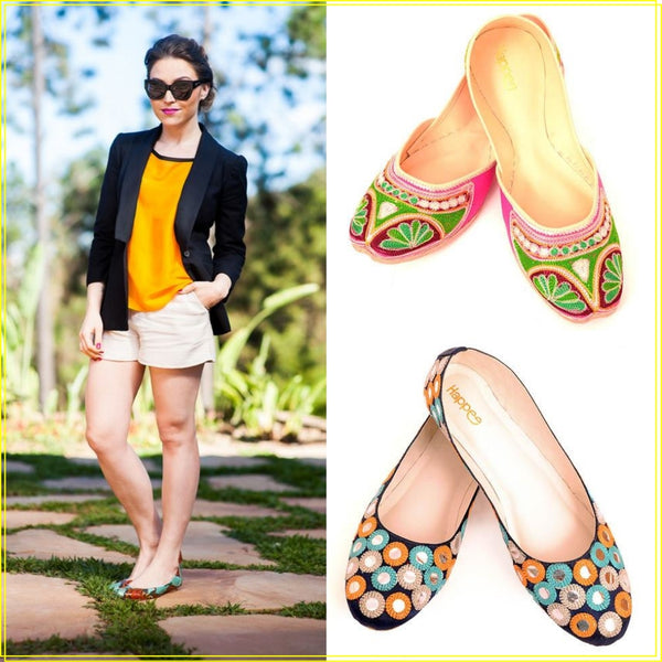 how to style colorful Happee flat ballerinas