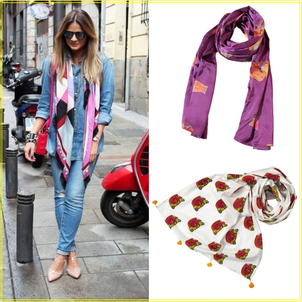 how to wear colorful scarves - Happee