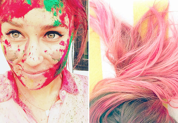 Lauren Conrad with pink hair after Holi