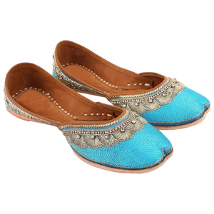 Designer Blue Embroidered Jutti Indian Shoes