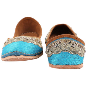 Designer Blue Embroidered Jutti Indian Shoes Buy Online