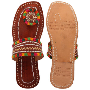 Hand Embroidered Leather Sandals - Brown