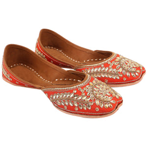Designer Orange Patti Embroidered Jutti Indian Shoes