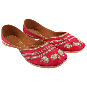 Designer Pink Embroidered Jutti Indian Shoes