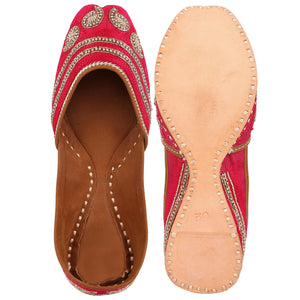 Designer Punjabi Pink Embroidered Jutti Indian Shoes