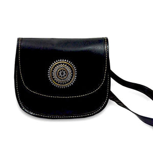 Mandala Embroidery Sling Bag - Black