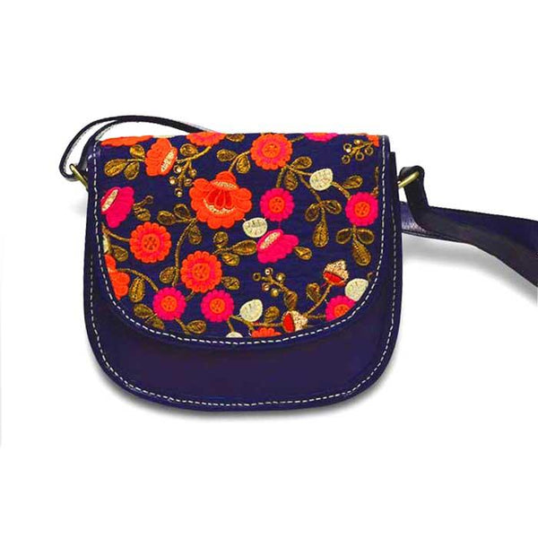 Orange Embroidery Sling Bag