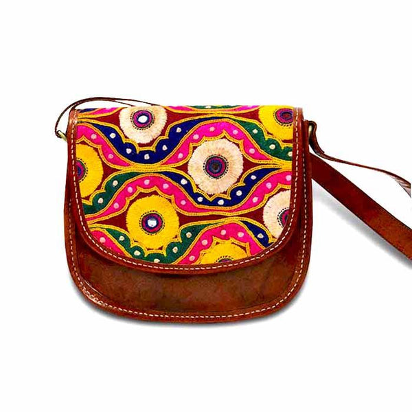Embroidered Sling bag- Mirror  embroidery