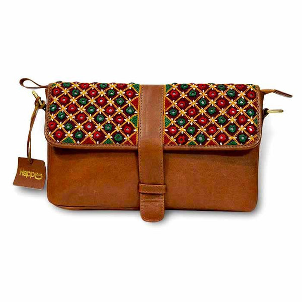 Mirror Embroidery Leather Clutch - Brown