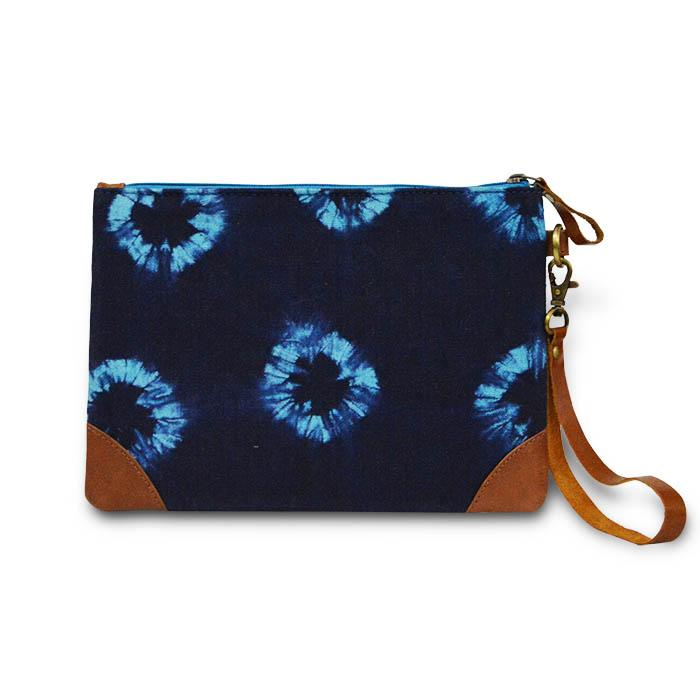Canvas Tie Dye Pouch - Blue