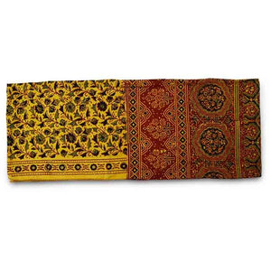 Ajrakh Block Printed Cotton Scarf - Yellow and Red