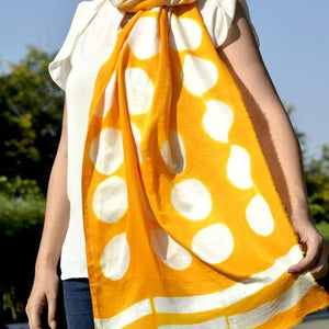 Yellow Polka Clamp Dye Scarf