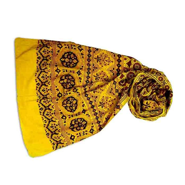 Ajrakh Block Printed Cotton Scarf - Yellow