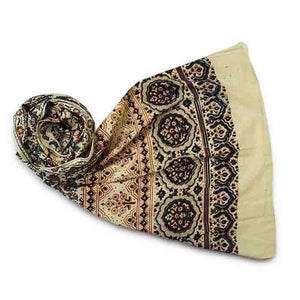 Ajrakh Block Printed Cotton Scarf - White