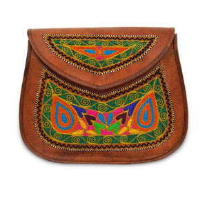 Leather Embroidery Sling bag - Orange leaf