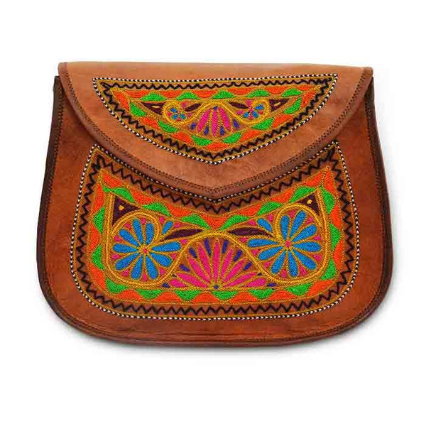 Leather Embroidery Sling bag - Flowers