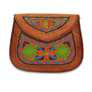 Leather Embroidery Sling bag - Circle