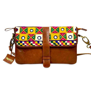 Yellow Squares Embroidery Leather Clutch- Brown