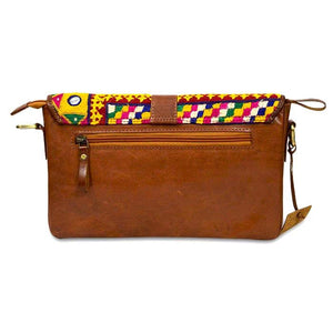 Yellow Squares Embroidery Leather Clutch- Brown back view