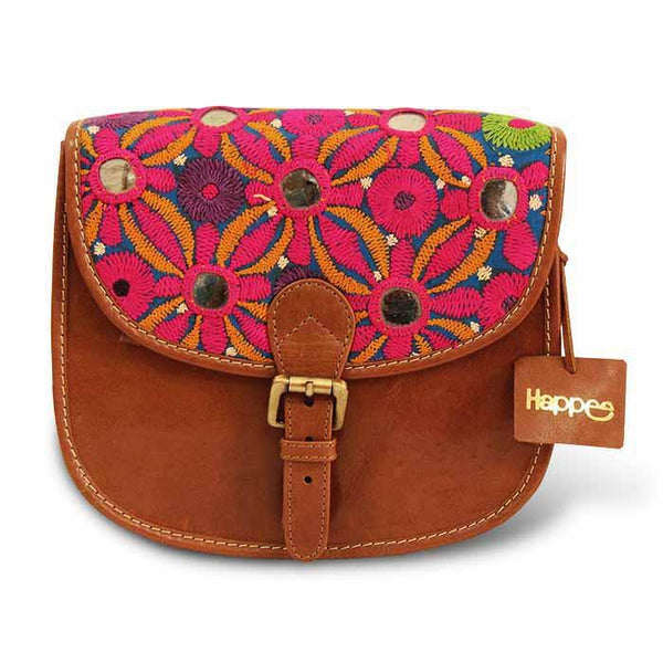 Hand Embroidered Sling Bag - Flowers