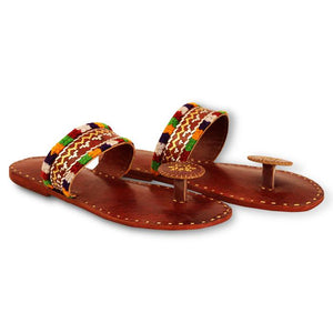 Leather Kolhapuri Chappals - Brown