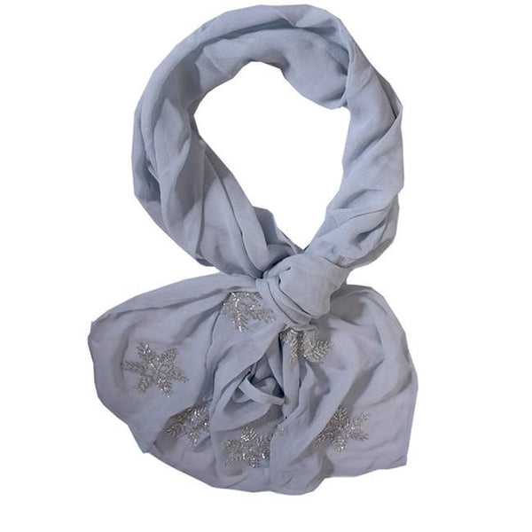 Snowflake Embroidered Scarf - Grey
