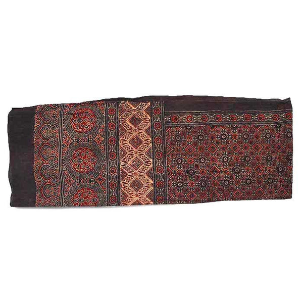 Ajrakh Block Printed Cotton Scarf - Brown and Red