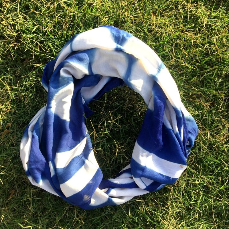 Blue Clamp Dye Scarf
