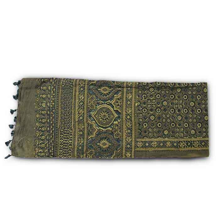 Ajrakh Block Printed Cotton Scarf - Beige and Blue