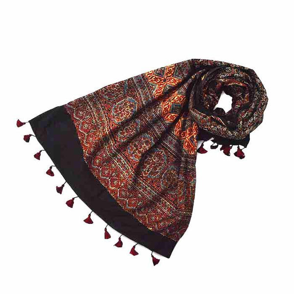 Ajrakh Block Printed Cotton Scarf - Black and Red