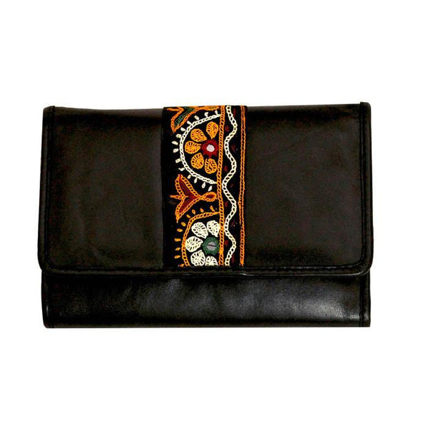 Embroidered Mobile Wristlet Wallet - Black
