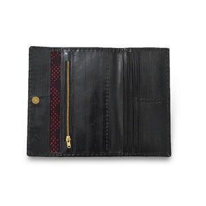 Golden Embroidery Leather Wallet- Black Inside View