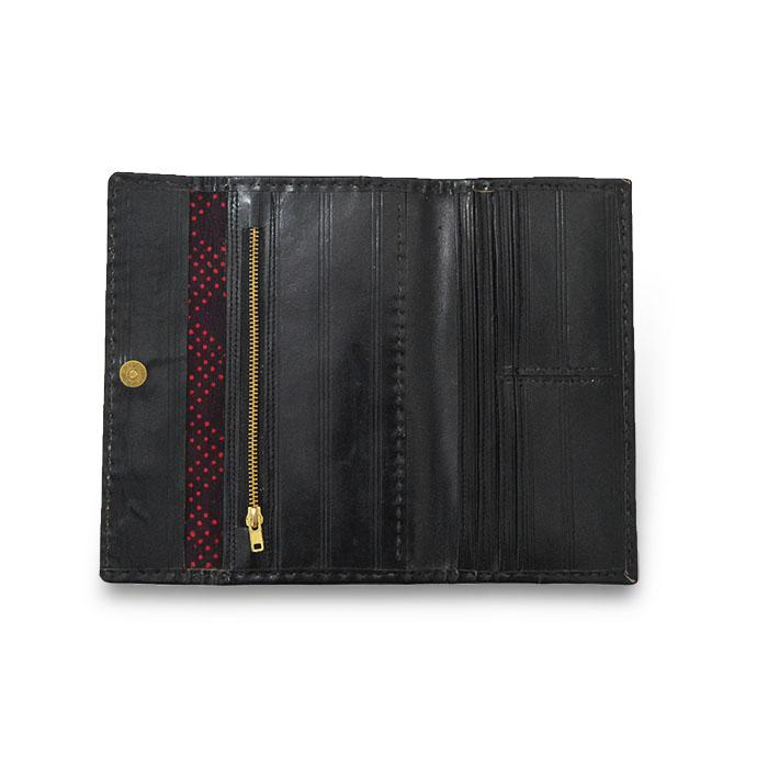 Golden Embroidery Leather Wallet- Black