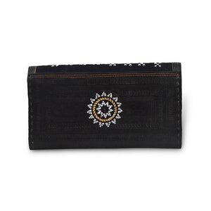 Golden Embroidery Leather Wallet- Black Back View