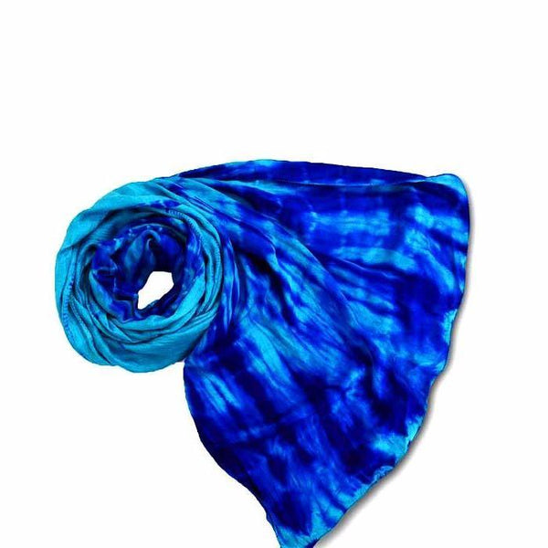 Sea Blue Shibori Silk Scarf