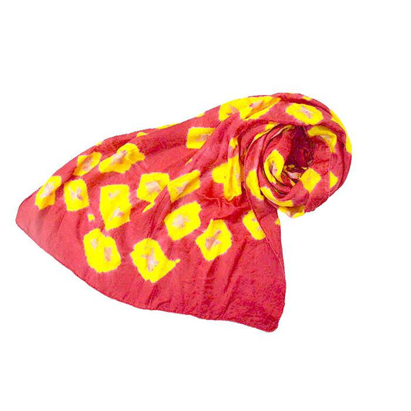 Pink and Yellow Tie Dye Silk Scarf